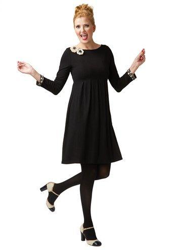 du Milde kjole Always Angelina sort med creme hvide blomster / black dress