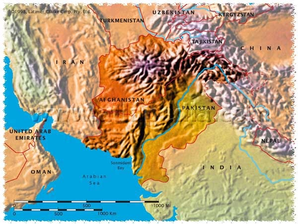 Zoomed Out Physical Map Afghanistan Pinterest - Physical map of afghanistan