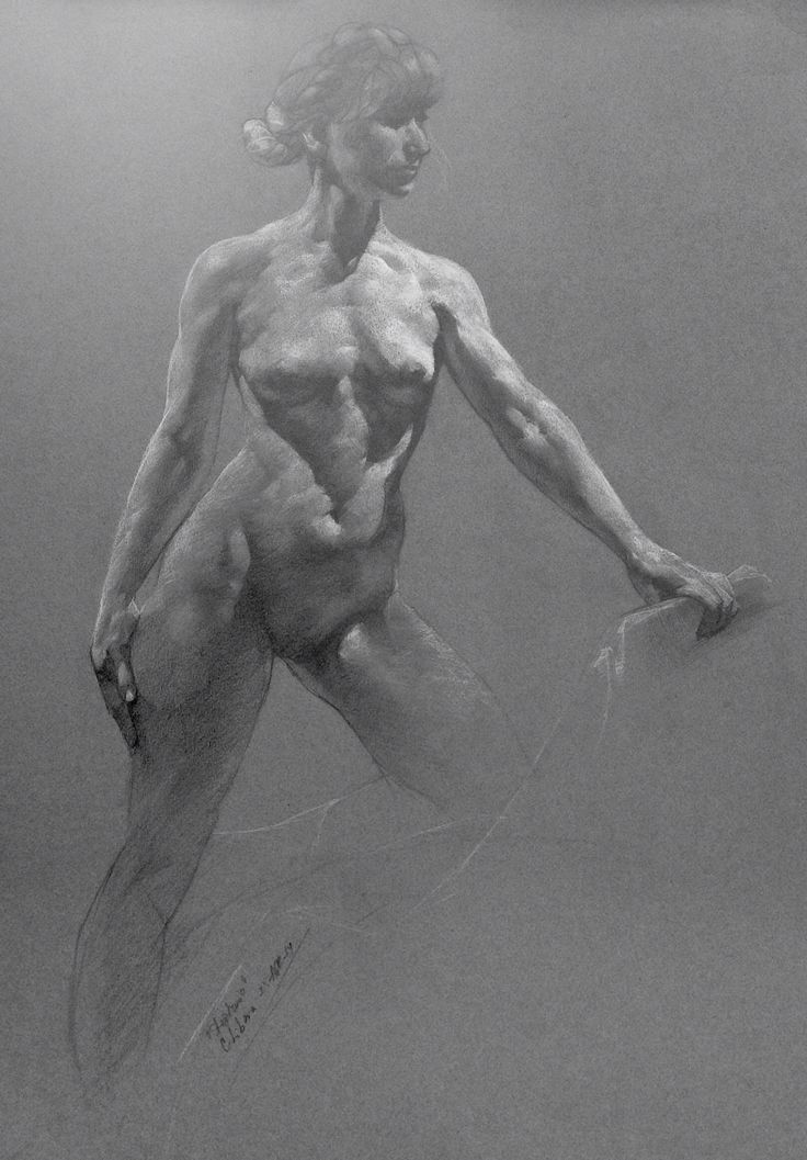 """Standing Nude, by Cyprian Libera, graphite and chalk on toned paper, 18 x 24"""""""