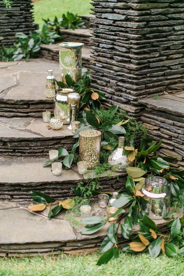 mercury glass ceremony decor - photo by J.Ashley Photography http://ruffledblog.com/wedding-elegance-at-bisham-manor #mercuryglass #weddingideas