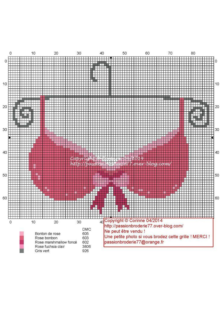 0 point de croix soutien gorge rose - cross stitch pink bra