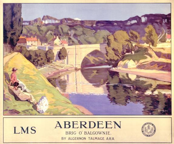 Aberdeen, Brig o'Balgownie, Scotland. Railway Travel Poster, LMS Railways