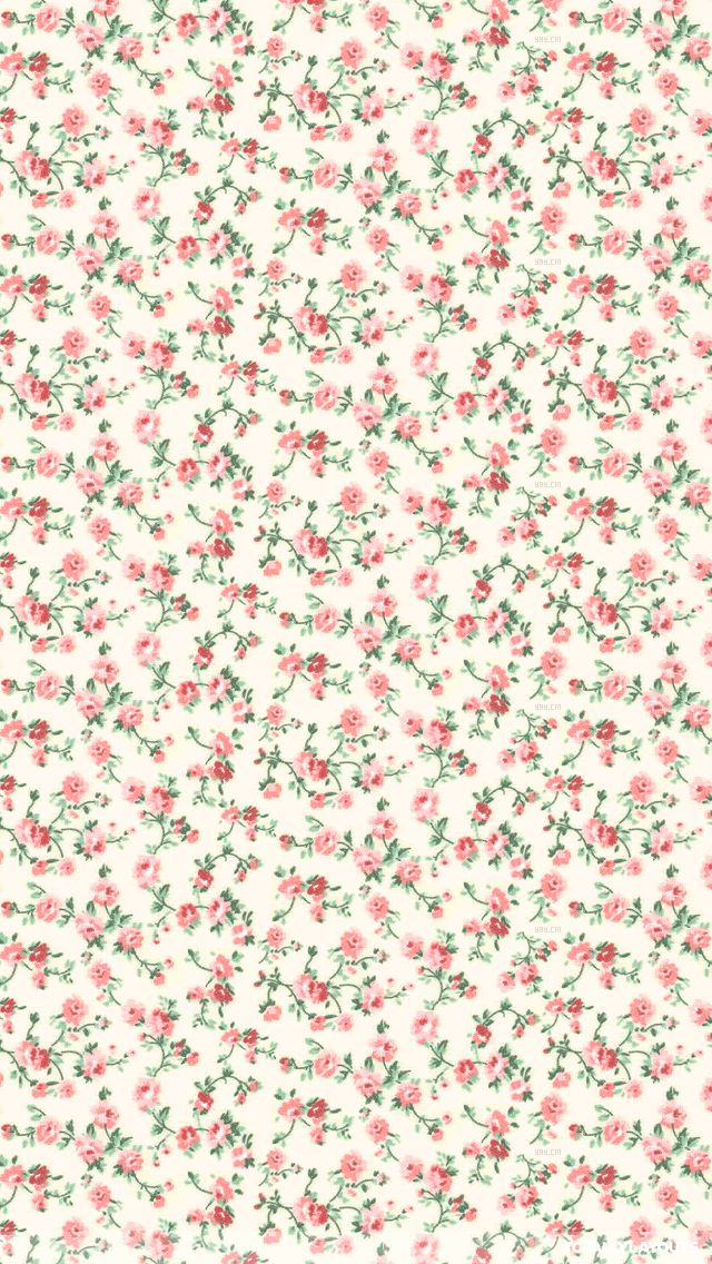 Pink grey mini ditsy floral roses iphone phone background lockscreen wallpaper