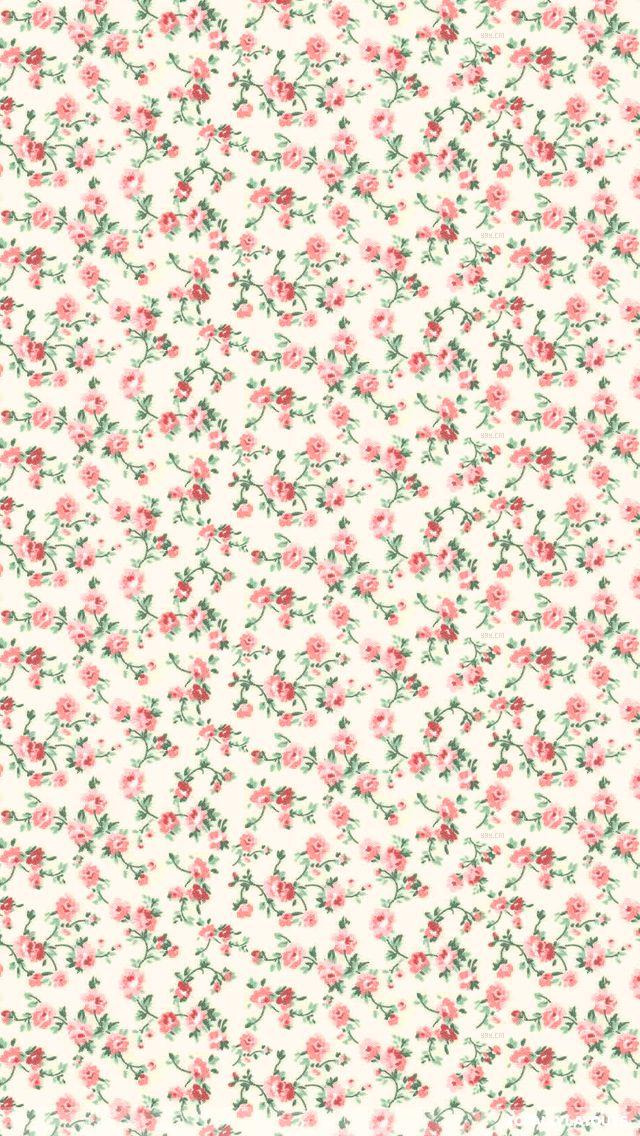 Pink grey mini ditsy floral roses iphone phone background lockscreen wallpaper