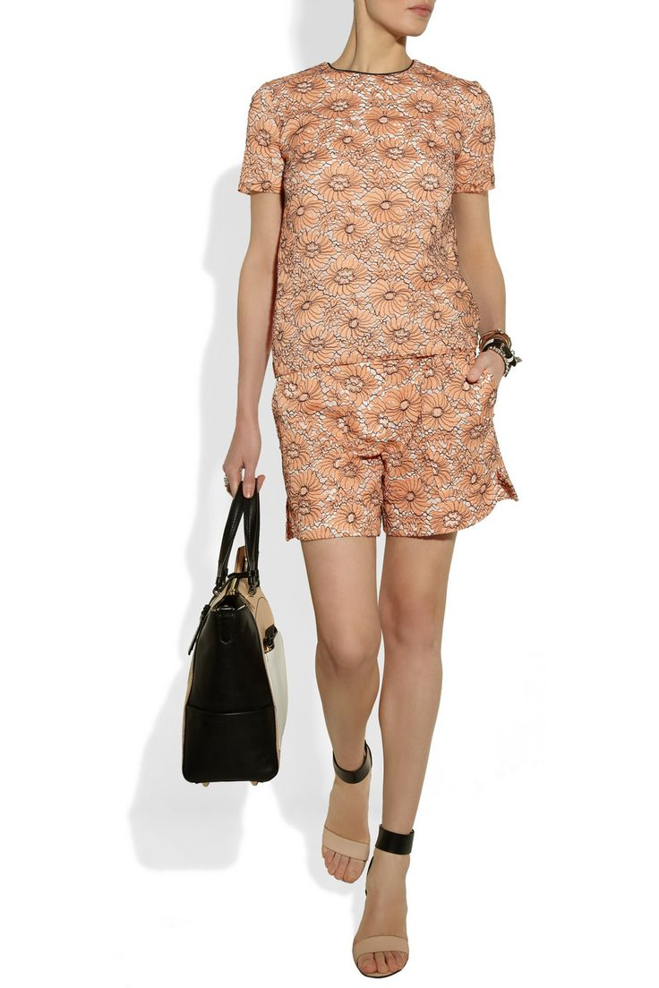 Mulberry | Cotton-blend lace top and shorts