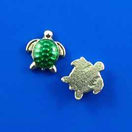 Floating charm, silver-finished, 10mm green turtle.  #TreasureStone Beads Edmonton.