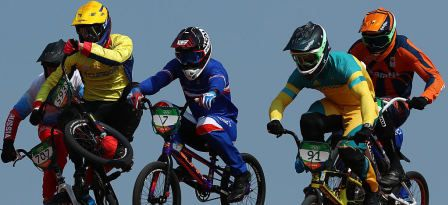 and Sam Willoughby of Australia, Alfredo Campo of Ecuador and Amidou Mir of Francecompete in the Cycling BMX at the 2016 Rio Olympic Games © 2016 Getty Images