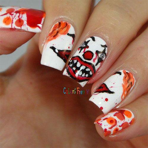 Halloween Creepy Clown Nails Art | Halloween nails, Nail ...