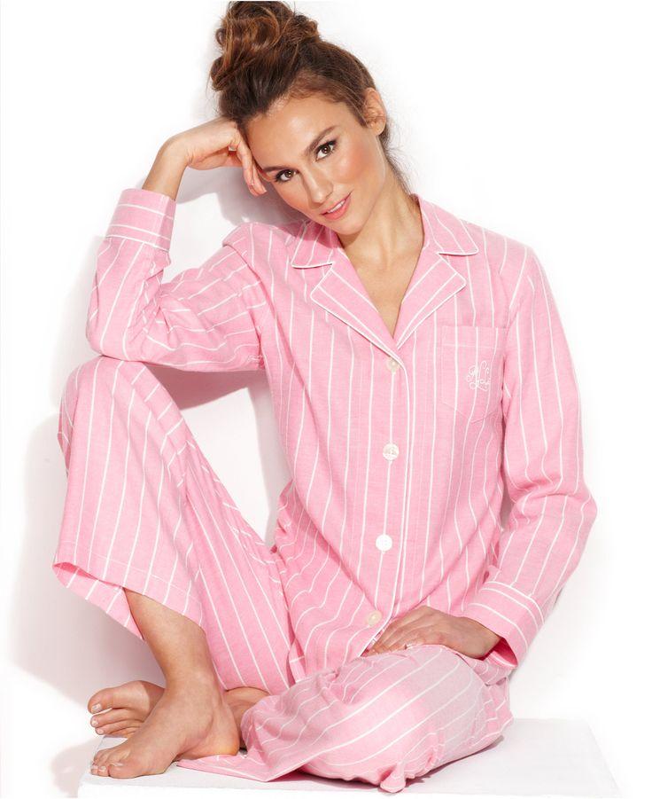 Lauren Ralph Lauren Classic Brushed Twill Notch Collar Top and Capri Pants Set - Pajama Sets - Women - Macy's