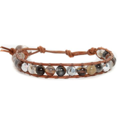 Botswana Agate + Crystals + Brown Natural Leather