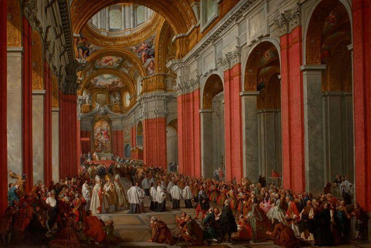 Giovanni Paolo Panini (Italian, 1691-1765); The Consecration of Giuseppe Pozzobonelli as Archbishop in San Carlo al Corso, 1743-44. Oil on canvas. Musei Civici di Como. Image: Pinacoteca Civica Como