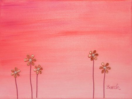 Wire Art on canvas from ButterflyOnBlue: Copper wire flowers against a painted sunset by Sarah Jansma