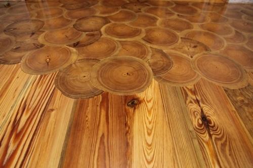 Heart Pine log ends flooring.