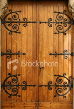 Wood Door Medieval With Iron Hinges Over The Top House