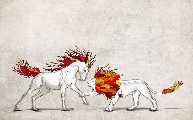 El corcel y el león. Tributo Leonardo da Vinci: El caballo Sforza y Mitología Griega: El león de nemea.