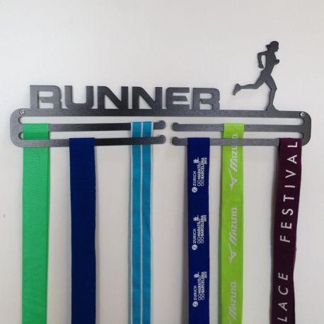 Miles Stronger Runner Female Medal Hanger in Anodised Aluminium