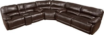 Cindy Crawford Home Auburn Hills Brown Leather 3 Pc Reclining Sectional