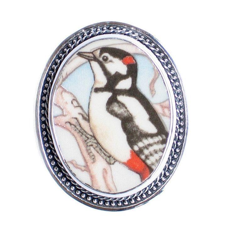 SALE Broken China Jewelry Wedgwood Garden Birds Great Spotted Woodpecker Sterling Brooch Pin