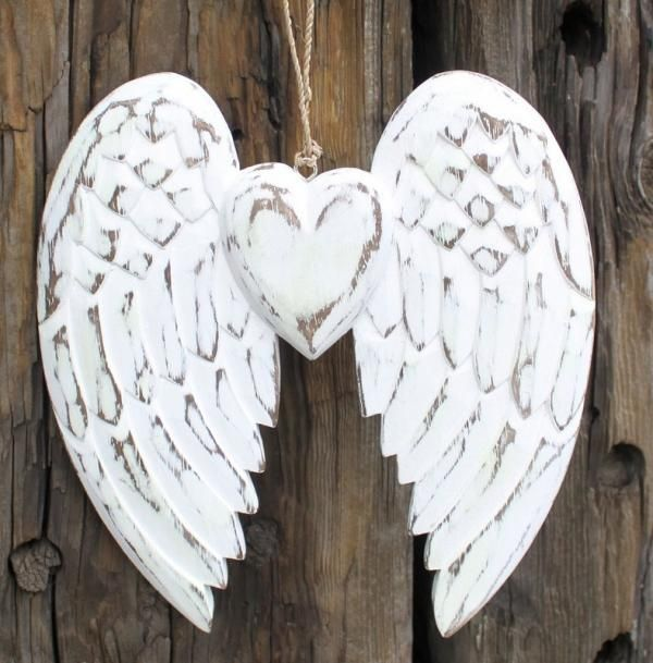 White Wooden Winged Angel Hanging Heart Carved