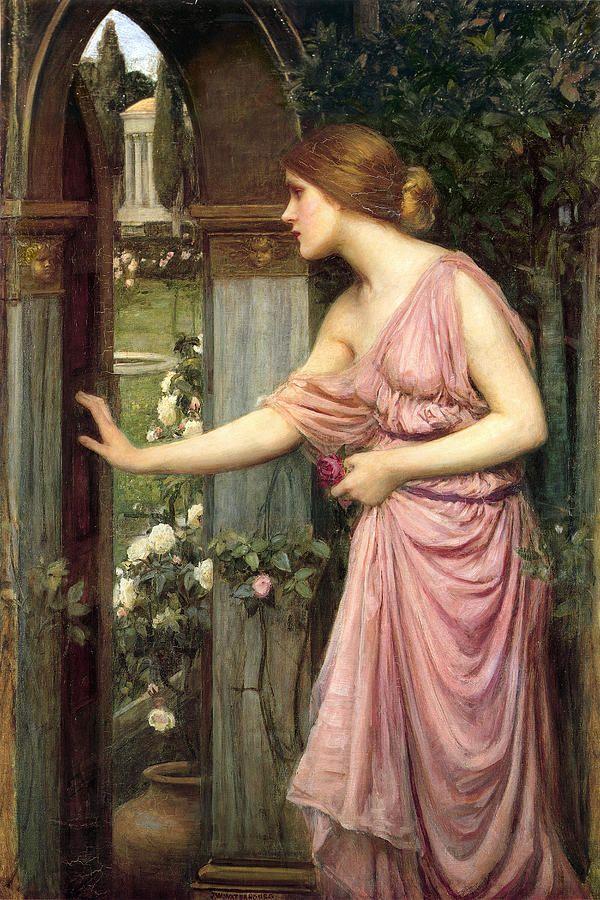 Psique Entrando Jardín de Cupido por John William Waterhouse - Romanticismo -