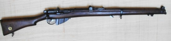 No 3. LEE-ENFIELD SMLE – UK  Type :	Bolt-Action Rifle  Caliber : 	7.7 x 56 mm  Muzzle Velocity : 	Approximately 2,438 feet per second  Rate of Fire :	15-20 rounds per minute.  The Lee-Enfield SMLE was the standard infantry weapon of British troops from World War I to the 1956 Suez crisis. The rifle was reliable, accurate and had a phenomenal rate of fire.