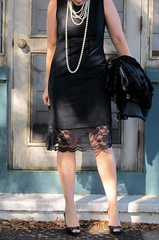 Little Black dress #1 ~ love the gentle extra length of black lace, great idea to lengthen some of my dresses....