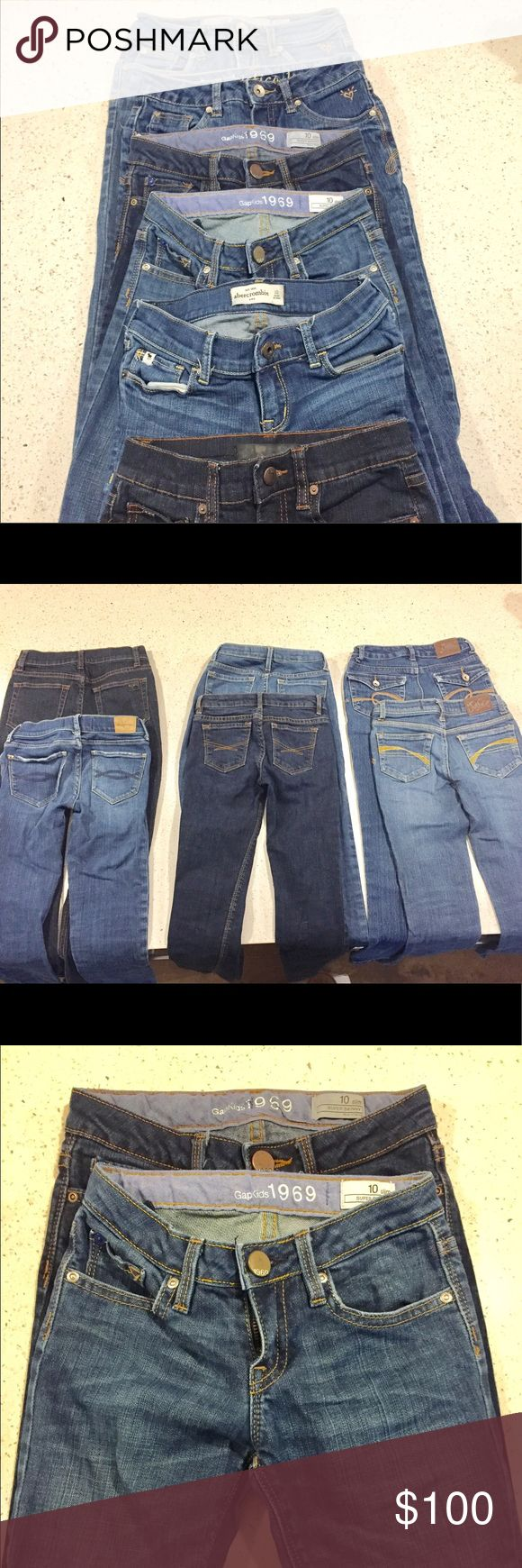 Lot 7 pairs of jeans Abercrombie Gap Joe's Zara Barely worn girl's skinny jeans all girls size 10. 2 Gap, 2 Justice, 1 Abercrombie, 1 Joe's Jenas, 1 Zara. Light to dark wash.  If you want to make an offer on just one pair or a couple please make a comment. abercrombie kids Jeans Skinny