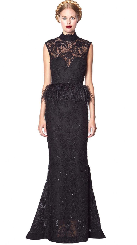 Роскошное вечернее платье с баской из перьев Alice + Olivia - лимитированная коллекция - только для самых особых случаев