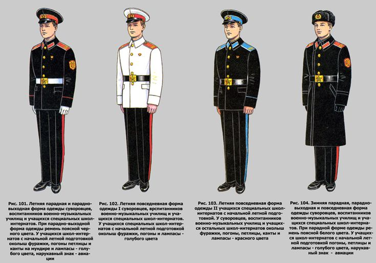 Service uniforms of the Soviet Suvorov military high school.