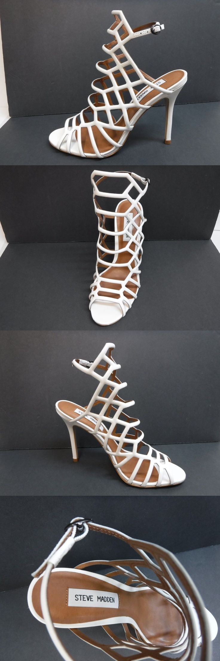 Heels 55793: Steve Madden Size 8.5 White Leather Open Toe Heels New Womens  Shoes -