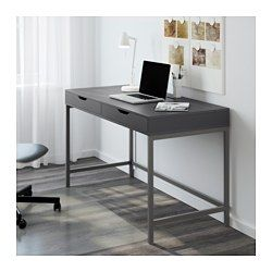 IKEA - ALEX, Desk, gray, , Built-in cable management for collecting cables and cords out of sight but close at hand.Drawer stops prevent the drawers from being pulled out too far.Can be placed anywhere in the room because the back is finished.