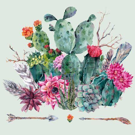 kaktus: Exotischen natürlichen Weinlese-Aquarell Blumenstrauß in Boho-Stil. Kaktus, saftig, Blumen, Zweigen, Federn und Pfeile. Pflanzen isoliert Natur Kaktus Illustration Lizenzfreie Bilder