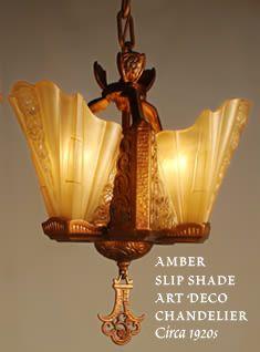 Art deco chandelier, amber slipshades, circa 1920  ruizantiquelighting.com