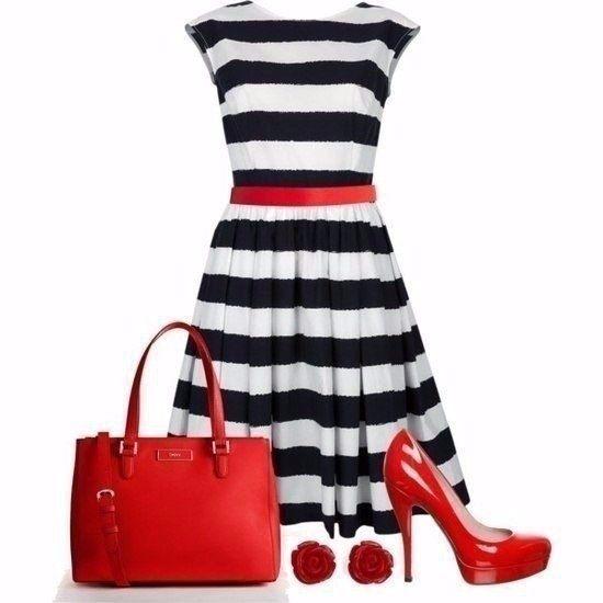 Что носить с красными туфлями.