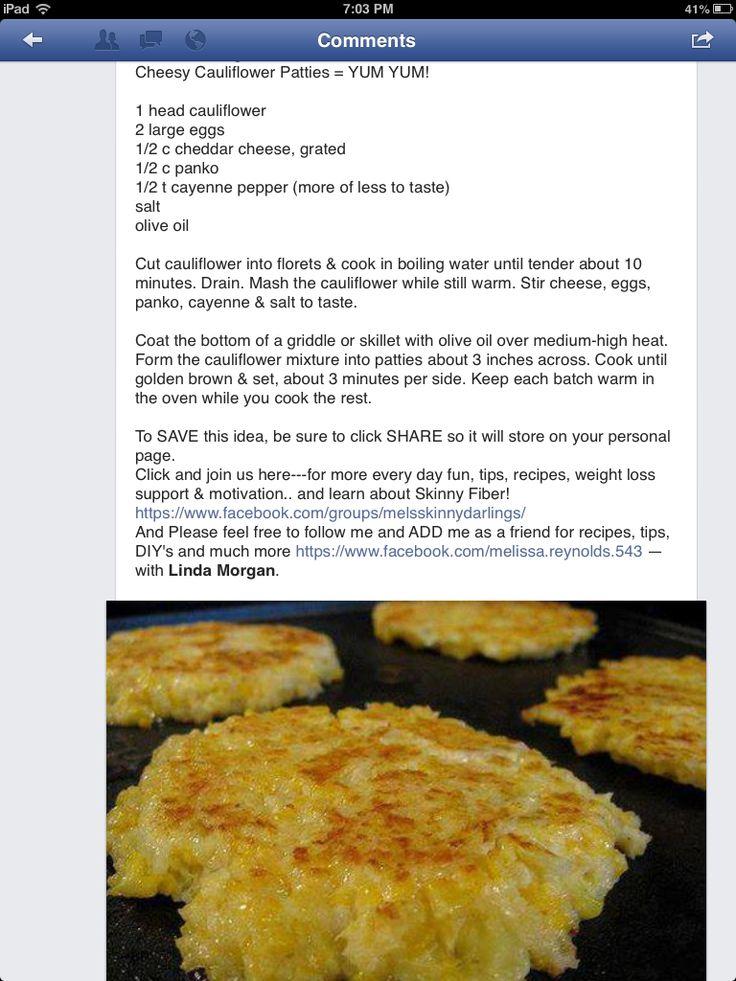 Cheesy Cauliflower Patties - I maybe should just start a board for cauliflower recipes.