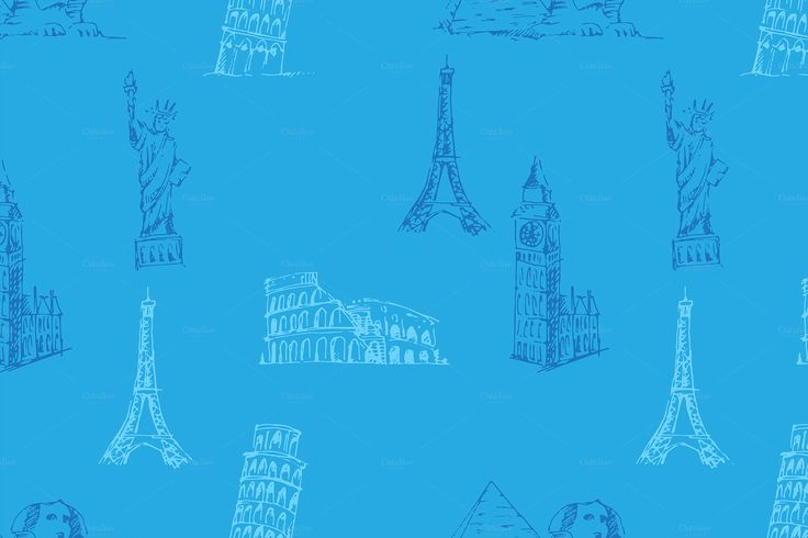 Doodle Travel pattern. by Netkoff on @creativemarket