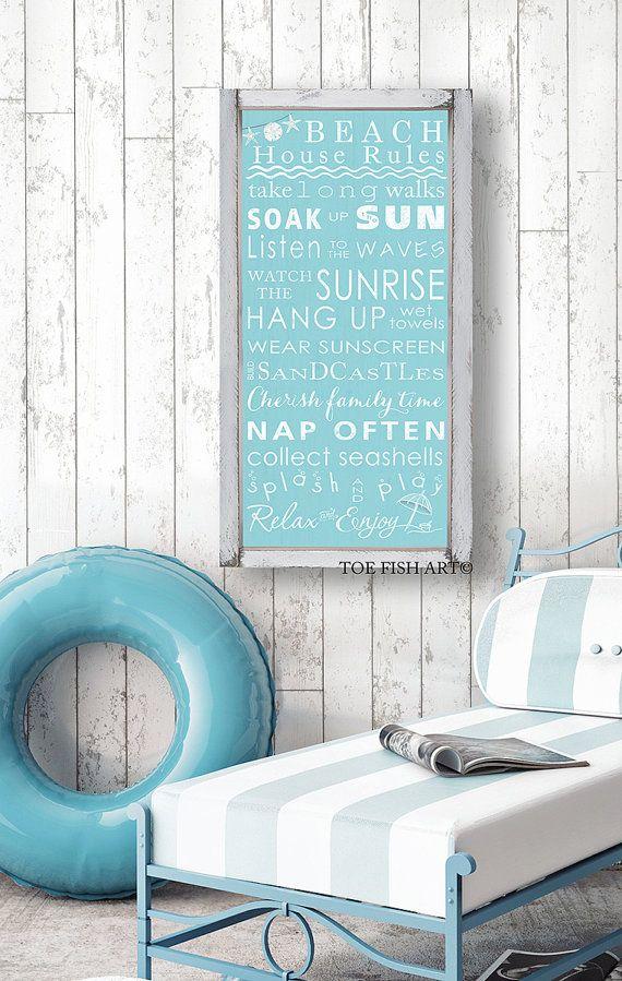 Strand regels met Seashore Bunting Vintage stijl door ToeFishArt