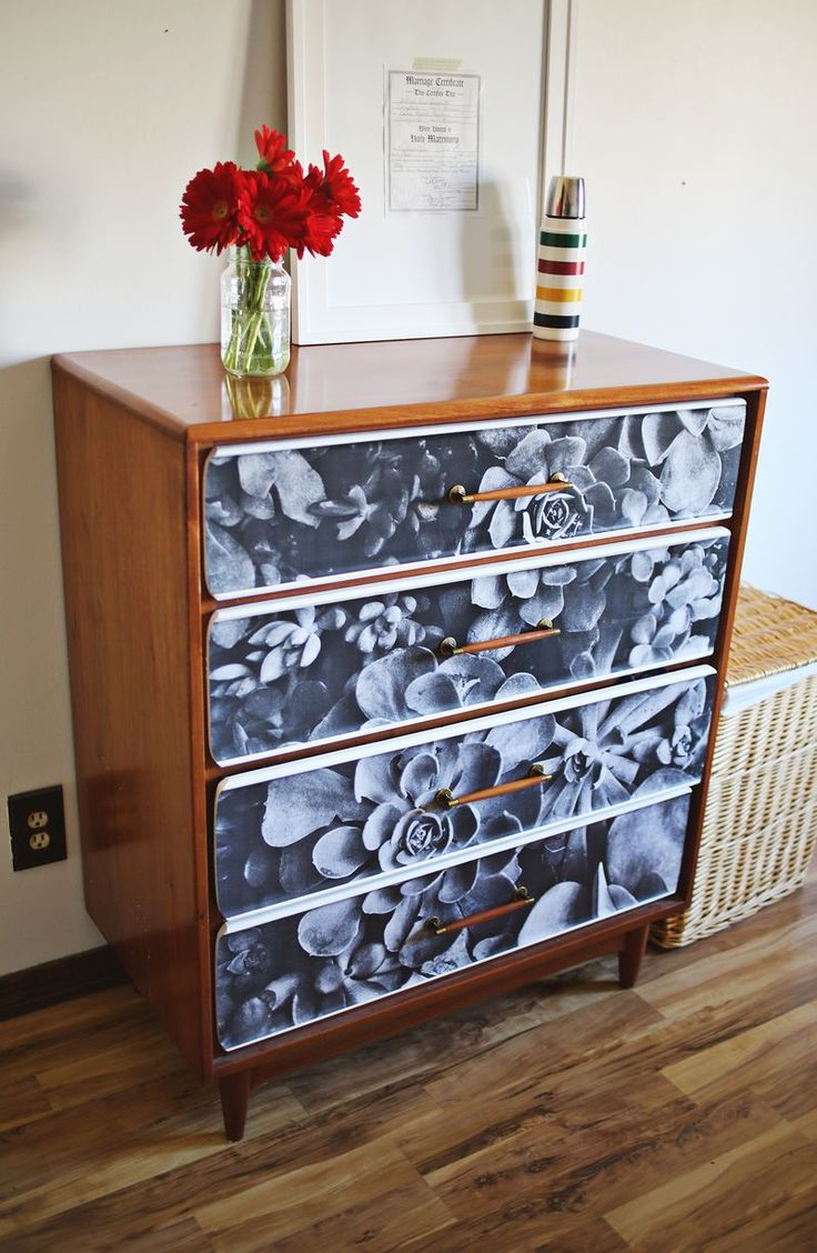 diy decoupage furniture. DIY Decoupage Black And White Photo Furniture Diy E