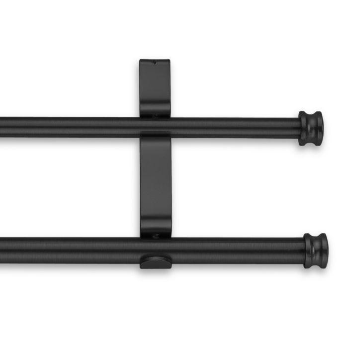 Cambria Classic Complete Double Drapery Rod In Satin Black