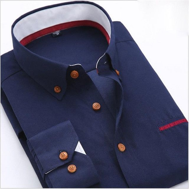 d9f54b90f599 New Men Fashion Casual Dress Shirt Autumn Male Long Sleeve Business Formal  Shirt Camisa Social Masculina Size S-4XL   Products   Pinterest