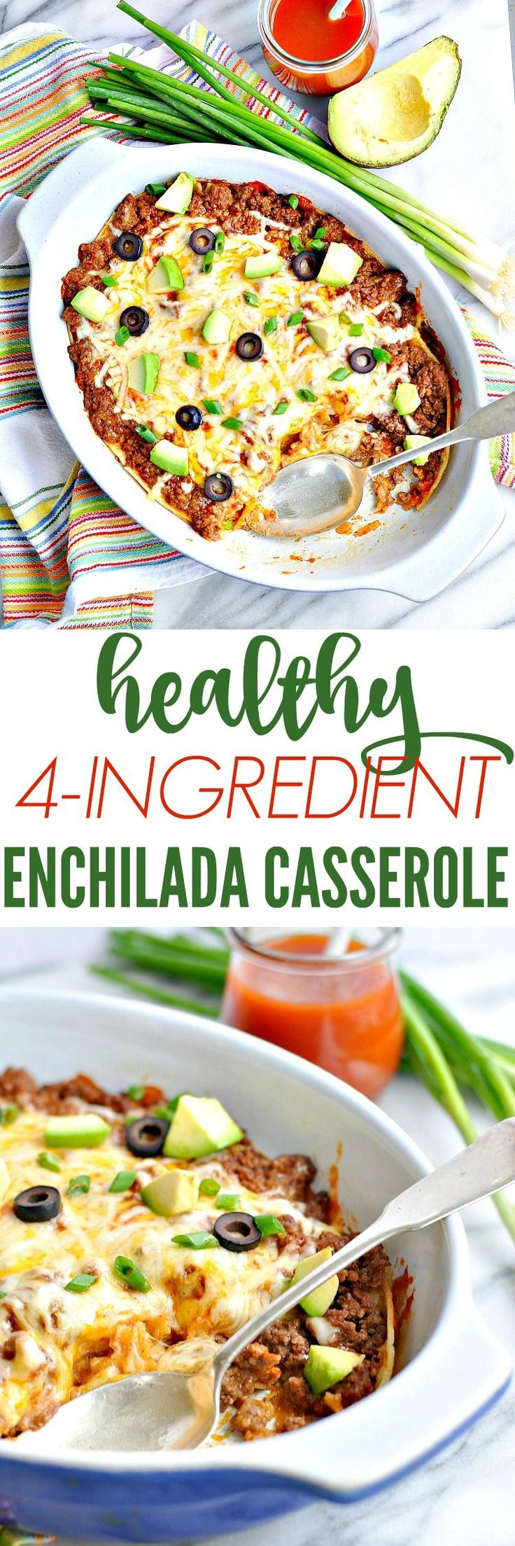 This Healthy 4-Ingredient Enchilada Casserole is a quick, easy, and family-friendly dinner recipe that's perfect for busy weeknights!
