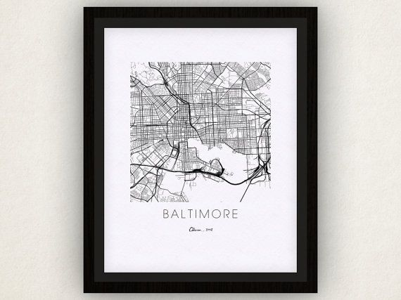 Baltimore Map Print by iLikeMaps on Etsy
