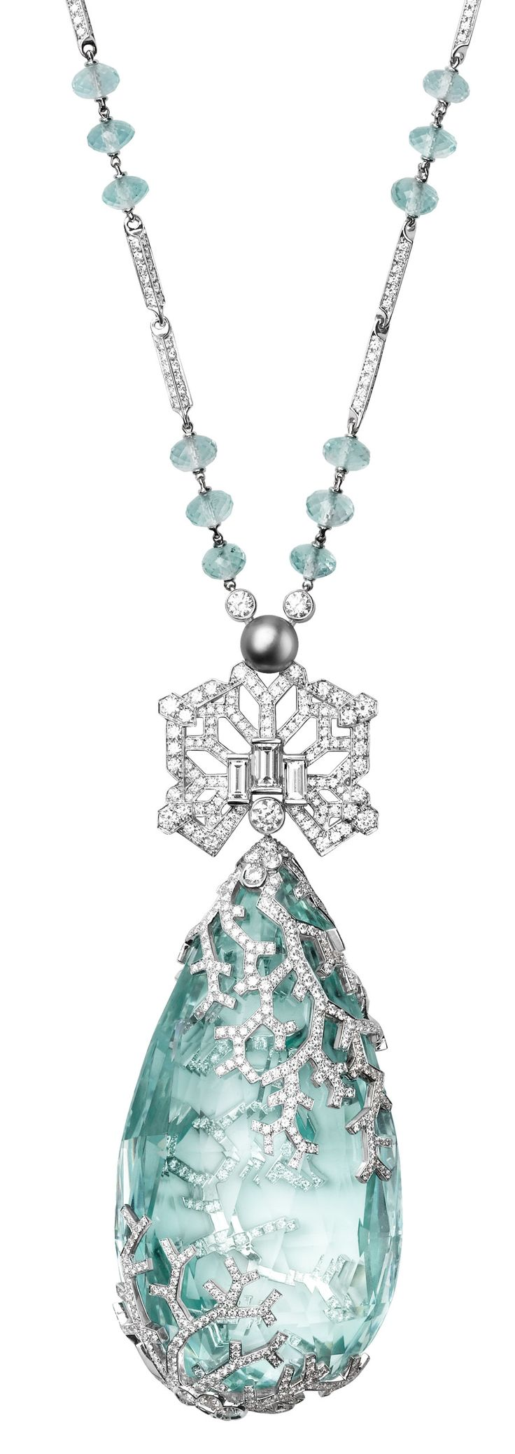 Cartier Biennale Necklace - Platinum, one 236.27-carat aquamarine, one natural pearl, facetted aquamarine beads, baguette-cut diamonds, brilliants. PHOTO - Vincent Wulveryck © Cartier 2012