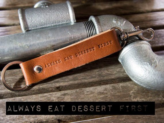Brown Leather keychain leather key fob keyring with by Gazur, €12.00