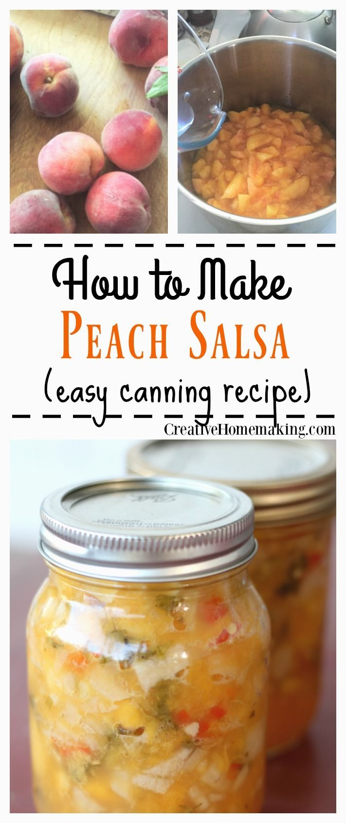 Easy recipe for canning homemade peach salsa.