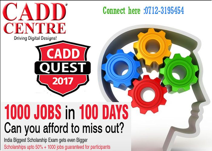 #CADDQuest2017 at nandanvan and sadar nagpur has undoubtedly become a huge success since it began. It attracts about 20,000 participants every year assisting them to achieve new heights in their career. This year, CADD Quest brings for the first time in India, 1000 jobs in just 100 days.  https://www.linkedin.com/pulse/cadd-quest-2017-connect-caddcentrenagcom-caddcentrenag-nagpur?published=t Tel.0712-3195454