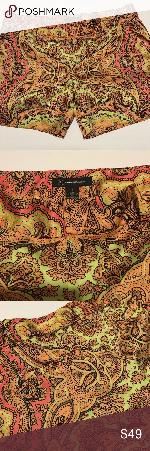"""INC paisley shorts, pockets, belt loops, front zip Gorgeous! FUN FUN neon pink, yellow paisley side pockets, back pockets, belt loops, low cut, front flap zipper polyester and polyester lining, 15"""" side length,  10"""" front rise INC International Concepts Shorts"""