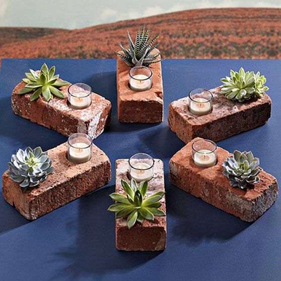 Simple idea for a patio table centerpiece.: Ideas, Craft, Brick Planter, Bricks, Delicious, Garden, Diy