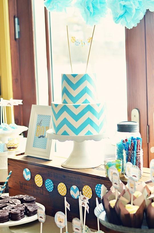 chevron cake table via sweetapolita baby bridal shower ideas