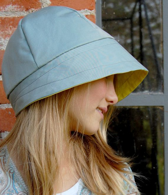 Teal Fall womens cloche rain hat with yellow linen by ZUTusine